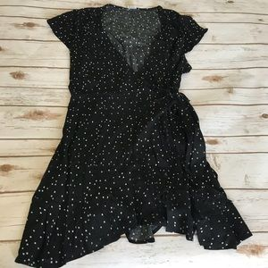 Black Spotted Wrap Dress